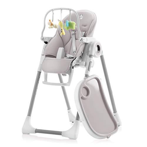 Mitwachsender Hochstuhl Baby, Verstellbar und Klappbar - 7 Höhen, Verstellbare Rückenlehne Kind 5 Positionen, Abnehmbares Tablett, Aufsteckbarer Teller (einfache Reinigung), Komfort Polster Baby