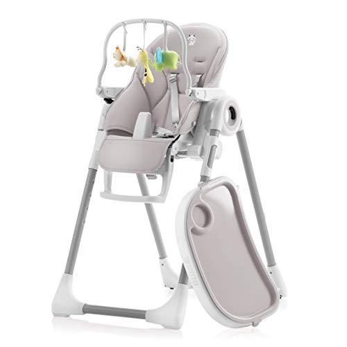 Adjustable, Folding, Baby High Chair - Baby Highchairs with 7 Different Heights and Adjustable Seat with 5 Different Positions - High Chairs with Removable Tray, Wipe Clean, Comfortable Baby Cushion