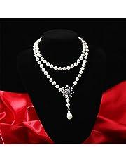 [F.Bird] ロングネックレス レディース パールネックレス 貝パール8mm 結婚式 真珠 ネックレス 母 誕生日プレゼント 女性 ネックレス チェーン 90cm調整式 アクセサリー ジュエリー (多様な付け方)