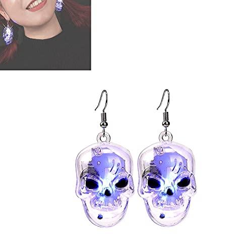 ZXZCHGN DIRIGIÓ Pendientes de cráneo iluminados Halloween Skull cuelga Pendientes de fiesta, Pendientes de Halloween Iluminar Pendientes, Pendientes temáticos de Halloween Pendientes Pendientes Decora