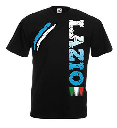Generico t-Shirt Lazio Tifosi Ultras Calcio Sport dalla S alla 3XL e 4 Colori Disponibili(12 Anni, Nero)