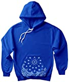CaliDesign Men's Blue Bandana Hoodie Crip Clothing Paisley Print Cholo Crenshaw Sweatshirt (3X - XXXL - 3XL)