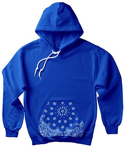 CaliDesign Men's Blue Bandana Hoodie Crip Clothing Paisley Print Cholo Crenshaw Sweatshirt (2X - XXL - 2XL)