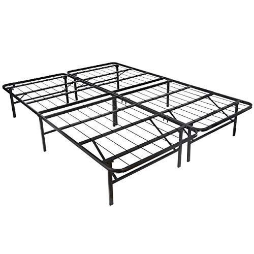 SUPER DEAL Foldable Queen Size Bed Frame - 14inch Metal Platform 2 Separable Bed Frames, Mattress Foundation, No Box Spring Needed