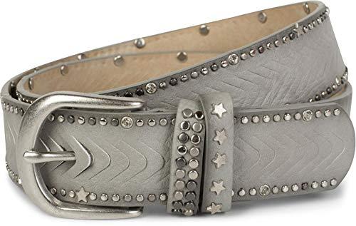 styleBREAKER cinturón de remaches con motivo cortado con remaches, piedras de estrás y remaches de estrellas, cinturón «vintage», acortable, señora 03010081, tamaño:90cm, color:Gris claro (Ropa)