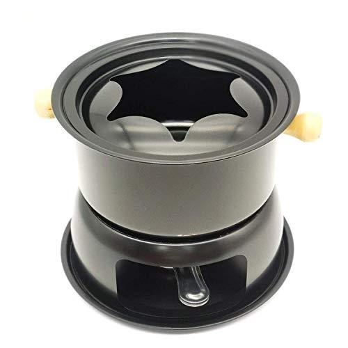 Schokoladenfondue-Maker-Set, Multifunktionaler Schokoladen-EIS-Hot Pot aus Kohlenstoffstahl, 6 farbcodierte Gabeln und herausnehmbarer Topf - Perfekt für Schokolade, Karamell, Käse, Saucen und mehr