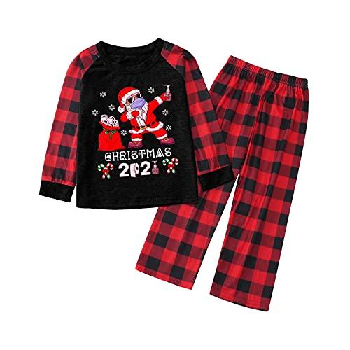 Matching Christmas pjs for kids Pajamas Sets for Family Red Plaid Tops + Pants Pjs Set Long Sleeve Plus Size Xmas Sleepwear