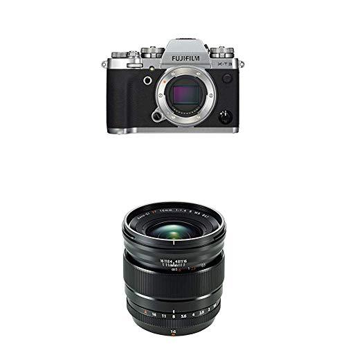 Fujifilm X-T3 - Cámara de objetivo intercambiable sin espejo, con sensor APS-C de 26,1 Mpx, video 4K/60p DCI, pantalla táctil, WIFI, Bluetooth, plata, Kit con objetivo X-T3 + XF16mm