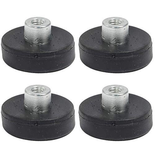 4 Stück Neodym Magnete Gummiert D 22mm Mit M4 Gewindebuchse 5 KG Zugkraft Topfmagnet Gummi Runde Magnete mit Gewinde für Schrauben Öse oder Haken