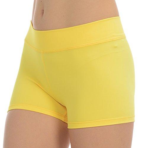 Anza Girls Active Wear Dance Booty Shorts-Yellow,Large(12/14)