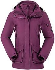 CAMEL CROWN Chaqueta de Esquí 3 en 1 para Mujer 2 Piezas al Aire Libre Resistente al Agua a Prueba de Viento Paño Grueso y Suave Dentro de la Capa con Capucha