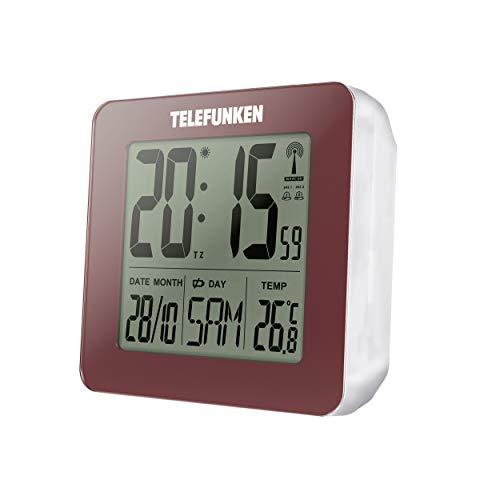 TELEFUNKEN FUD-25 (R) Réveil radio numérique LCD DCF avec thermomètre, affichage de la température et du calendrier Rouge bordeaux