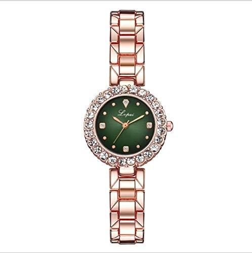 Tongjun Neue Luxus Frauen Kleid Uhren Set Mode Geometrische Armreif Armband Quarzuhr Damen Armbanduhr Rose Gold Uhren Quartz Uhr (Color : 1)