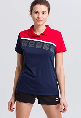 Erima GmbH 1111917 Polo de Tenis, Mujer, New Navy/Rojo/Blanco, 44