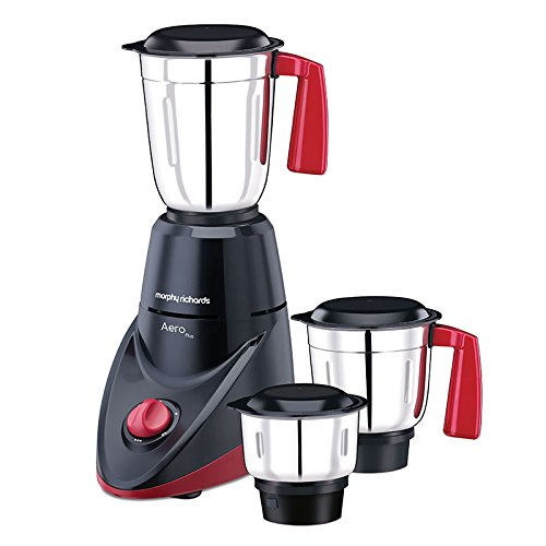 Morphy Richards Aero Plus 500-Watt Mixer Grinder with 3 Jars (Black/Wine)