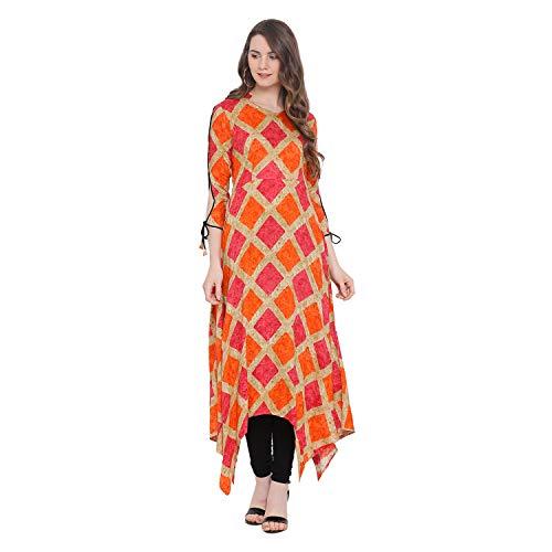 Indian Virasat Multi Colored Rayon Printed Asymmetric Long