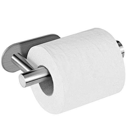 Aikzik Toilettenpapierhalter ohne Bohren, Selbstklebend Toilettenpapierrollenhalter Edelstahl Runde Klopapierhalter für Küche und Badzimmer