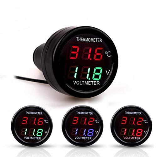 Manómetro digital de neumáticos 2 en 1 universal multifunción de coches medidor de voltaje digital metro de la temperatura (color al azar de entrega)