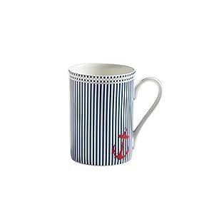 Maxwell & Williams S88002 Nautical Becher, Kaffeebecher, Tasse, blau gestreift, in Geschenkbox, Porzellan