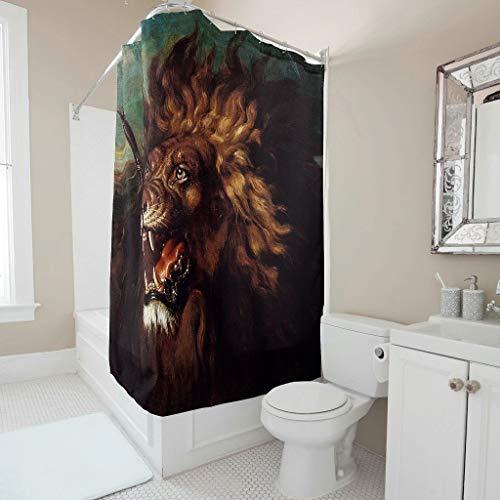 Cortina de ducha de tela vintage Verwundet León, impresión artística inspiradora, cortina de ducha Liner con hebillas de plástico para cuarto de baño, color blanco, 180 x 200 cm