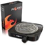 Phoenix - Hornillo Cachimba Electrico Shisha con rejilla para Carbones Barbacoa - Cocina Electrica Portatil para Camping o Encendedor Carbones Hookah (Negro (Sin Rejilla)