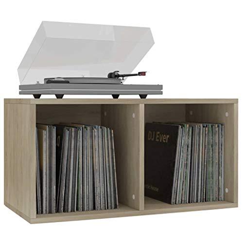 Tidyard Schallplatten Aufbewahrungsbox Ordnerregal Büro Aktenschrank Spanplatte Aufbewahrungsfach Sideboard Arbeitszimmer Wohnzimmer Stauraum mit 2 Fächern 71x34x36cm (Sonoma-Eiche)