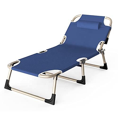 YX-ZD Sillón De Bronceado Exterior Plegable Portátil con Almohada, Cama De Playa, Cama Reclinable para Dormir De Oficina, para Adultos, Playa para Tomar El Sol