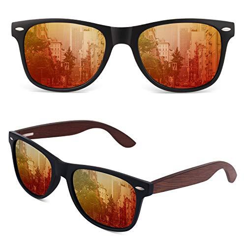 GQUEEN Gafas de sol Hombre Polarizadas,Gafas de sol Mujer Madera Rectangulares Retro Clásico UV400 CAT 3 CE,MOS08