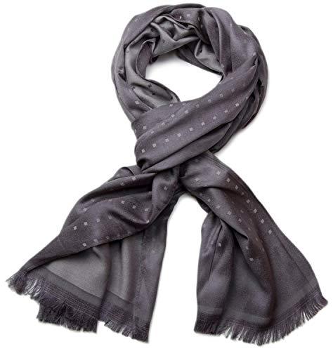 styleBREAKER sciarpa morbida e raffinata con frange e motivo a quadri 01018051, colore:Grigio