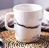 PULUKESns 300Ml Diseño De Mármol De Cerámica Tazas De Té De Café Tazas De Bebida De Oficina De Porcelana Tazas Vajilla-_Blanco