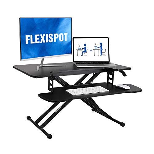 FLEXISPOT 31 inch Standing Desk Converter | Height Adjustable Stand Up Desk Riser, Black Home Office Desk Laptop Workstation with Removable Keyboard Tray (M18M)