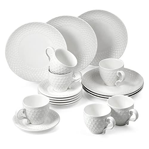 suntun Kaffeeservice 6 Personen, 18 teilig Porzellan Weiß Modern Kaffeegeschirr Set mit je 6 Kuchenteller, 6 Kaffeetassen 195ml, 6 Untertasse, Geschirrset Schneeflocken Relief Design