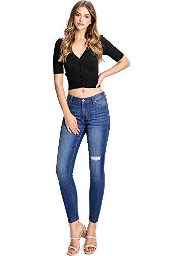 Celebrity Pink Women's Juniors Mid-Rise Stretchy Skinnys Jeans (11, Denim)