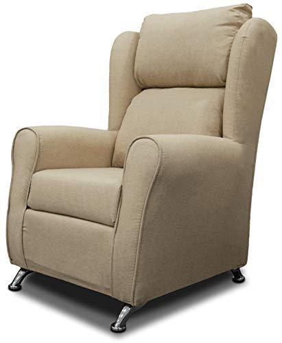 Miroytengo Sofá Individual Salon sillón Dormitorio Color Camel Pata Metal 80x67x104 cm