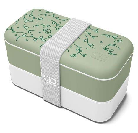 monbento - MB Original graphic English Garden grün / weiß Bento Box Made in France - Brotdose mit 2 Fächer - Lunch box perfekt für Büro/Meal prep/Schule