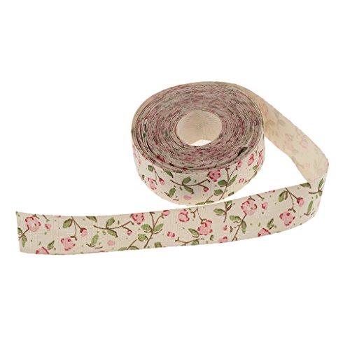 non-brand 5 Yardas Flor Impresa Tela Cinta Regalo Paquete Artesanía Decoración de Boda - Rosa, 5 Yardas