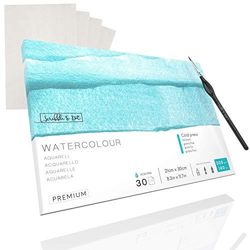 Aquarellpapier - Kaltgepresst 30 Blatt, 300 g/m2 Aquarellpapier DIN A4, Weiß - Künstler-Malblock für Aquarelltechniken und Mischtechnik + (4) Transparentpapier & Pinsel - Scribble & Dot™