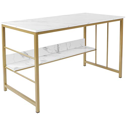 AYNEFY Schreibtisch Computertisch Nordisch Bürotisch mit Marmor Optik und Golden Metallgestell Modern Arbeitstisch Platzsparend PC-Tisch für Büro Schlafzimmer Wohnzimmer, 120 x 60 x 73,5 cm