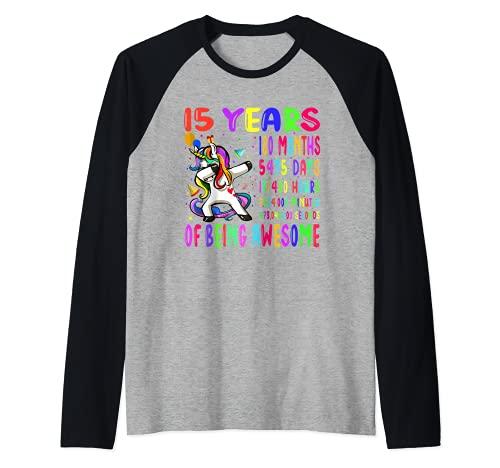 Dabbing Unicorn - Fiesta de cumpleaños para niños de 15 años, 180 meses, 15 años Camiseta Manga Raglan