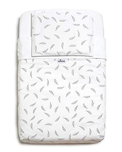 Niimo Next to me Sabanas set de sábanas(3 piezas+1 Eredòn)100% algodón para cuna de colecho Lullago Kinderkraft UNO Cullami Cam Jane Babyside dimensiones 50x83 (Plumas)