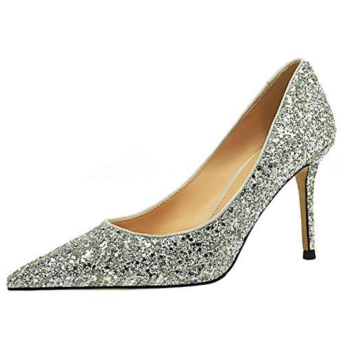 BIGABIGA Mujer Moda Tacón de Aguja Pumps Glitter Puntiagudo Boda Fiesta Zapatos Silver Talla 40 Asiática