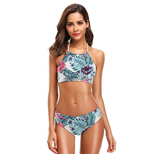 SUGARHE Damen Badebekleidung,Blumen Vogel Paradies Hibiskus Plumeria Palme,Mädchen Bikini Set Split(M)