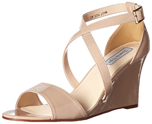 David's Bridal Jenna Wedge Sandals Style 4179, Nude, 9