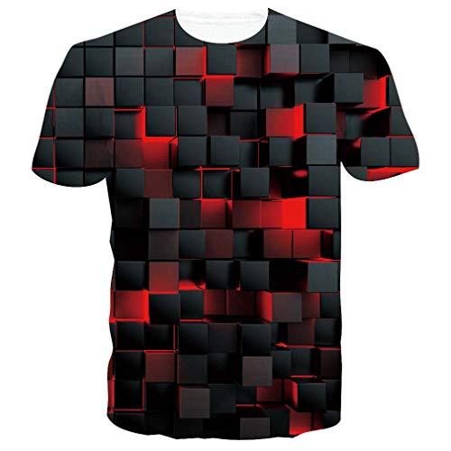 Spreadhoodie Unisex Camisetas de Manga Corta 3D Cubo de Rubik T Shirt Camisas Deportivas Sport Graphics tee para Hombres S