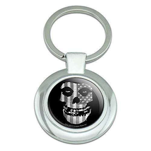 Misfits Gray American Flag Fiend Skull Logo Keychain Classy Round Chrome Plated Metal