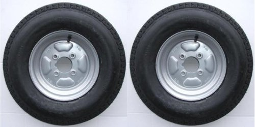 leisure MART A pair of 500 x 10 inch trailer wheels and tyres with 4 ply tyre and 4 inch PCD Pt no. LMX1600