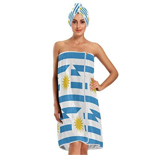 Toalla de baño con diseño de bandera de Uruguay con cierre ajustable