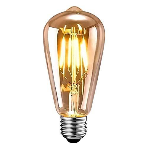 Edison Vintage Glühbirne, Edison LED Lampe Warmweiß E27 6W Retro Glühbirne Vintage Antike Glühbirne Ideal für Nostalgie und Retro Beleuchtung im Haus Café Bar usw 1 Stück