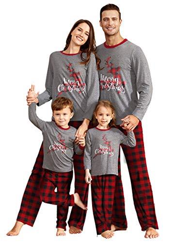 IFFEI Matching Family Pajamas Sets Christmas PJ's Sleepwear Merry Christmas Reindeer with Plaid Pants for Kids & Adult (X-Large Men)