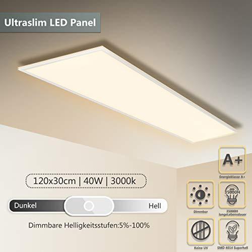 LED Panel Deckenleuchte 120 * 30 CM 40W Helligkeitsregler Helligkeit einstellbar Wandleuchte Warmweiß LED Lampe Ultraslim Einbauleuchte Weißrahmen mit Befestigungsmaterial und Trafo [Energieklasse A+]